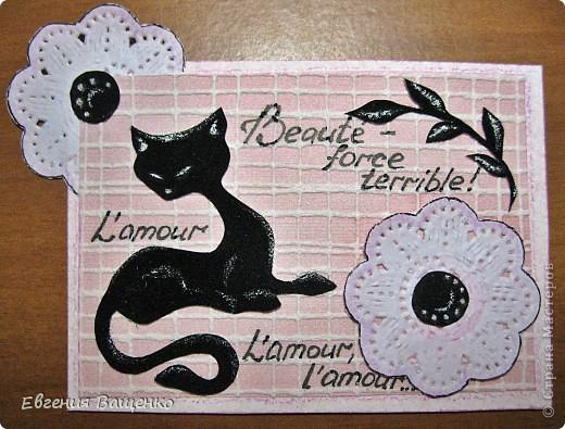 Кошечки, веточки и сердцевинки цветочков - бархатная бумага; цветы - салфетка; фон - обои. Размер: 90*65 мм фото 4