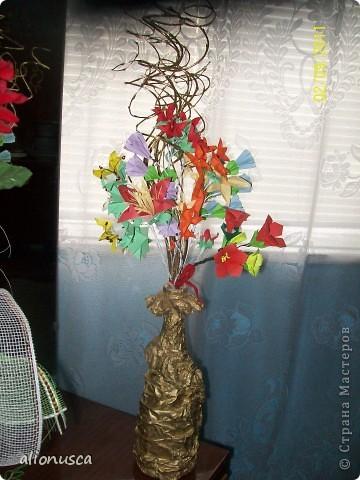 Первыи мои букет в технике оригами. фото 1