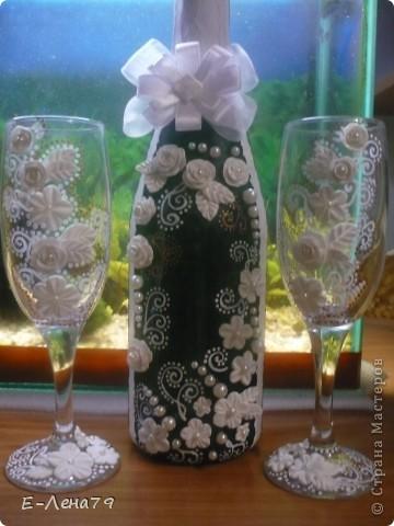 Ещё одна попытка в оформлении бутылки и бокалов фото 1