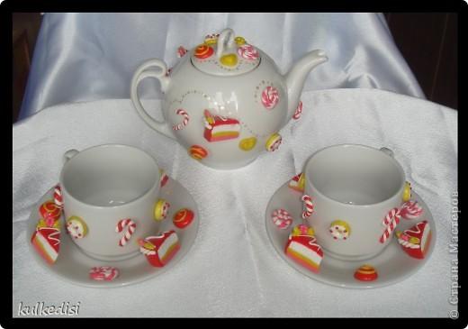 Подарок на день рождения хорошей подружке.Чайная пара с заварничком. фото 1
