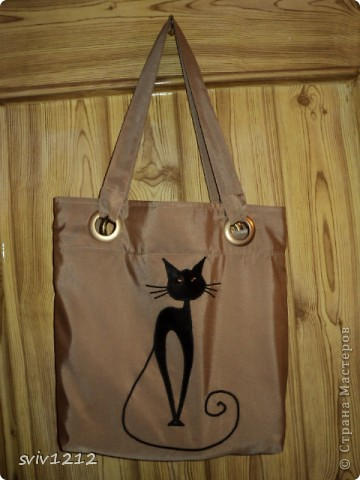 Такая простенькая сумка,весь фокус в аппликации.Кошки нравились мне всегда,теперь буду носить ее с собой,сама по себе эта кошка не будет гулять! фото 1