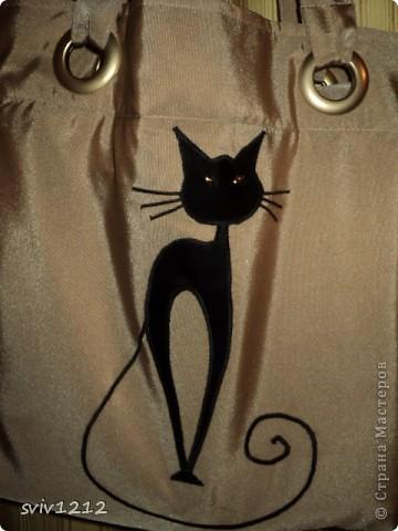 Такая простенькая сумка,весь фокус в аппликации.Кошки нравились мне всегда,теперь буду носить ее с собой,сама по себе эта кошка не будет гулять! фото 2