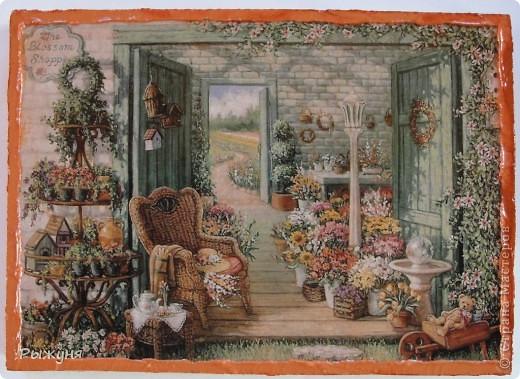 Здравствуйте жители Страны Мастеров! Продолжаю серию минни-панно по картинам Жаннет Крумент, с  темами деревенской, дачной жизни.Материал ДСП, структурная паста, распечатка. фото 3
