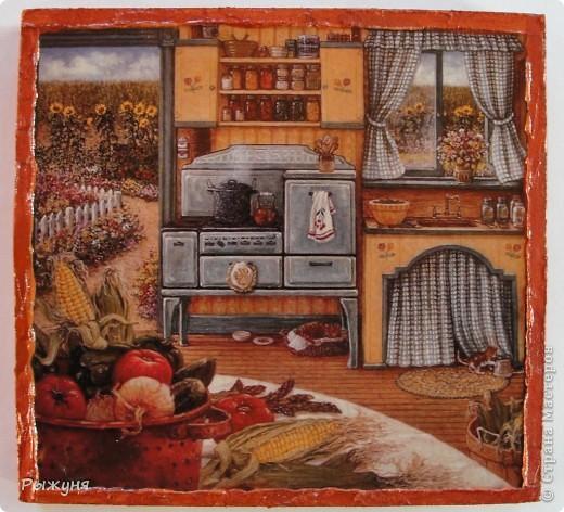 Здравствуйте жители Страны Мастеров! Продолжаю серию минни-панно по картинам Жаннет Крумент, с  темами деревенской, дачной жизни.Материал ДСП, структурная паста, распечатка. фото 4