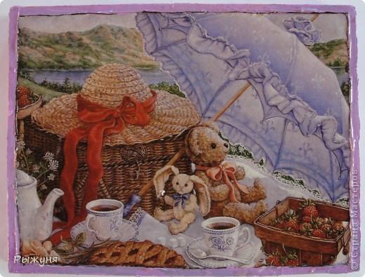 Здравствуйте жители Страны Мастеров! Продолжаю серию минни-панно по картинам Жаннет Крумент, с  темами деревенской, дачной жизни.Материал ДСП, структурная паста, распечатка. фото 2