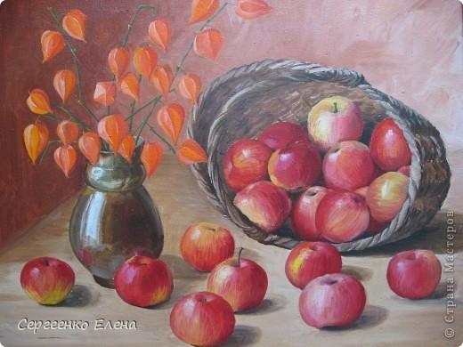 Яблок в этом году в садах очень много. Решила я написать натюрморт.  Разложила красиво яблоки, начала рисовать. Уж больно они сладкие, сочные! Пишу, а так и хочется откусить! Решила сначала одно яблочко съесть, потом второе, так незаметно, почти все и съела. Вкуснотища! Здесь нарисованы яблоки двух сортов: жигулёвское и уэлси. Только закончила картину, сразу отправила на выставку самодеятельных художников в областную картинную галерею.  фото 1
