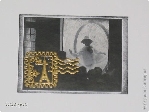 """Привет,привет! Давненько я не показывала вам,уважаемые """"жители"""" и гости Страны Мастеров,ничего новенького.Ну да я исправляюсь:) Итак,новая серия карточек АТС. За основу взяты потрясающие снимки Симоны Д`Аленкур.Это любимая модель мастера модного фото Мелвина Сокольски. Его знаменитая серия """"Simone,Bubble,Siene,Paris 1963""""(""""Симона,Пузырь,Сена,Париж 1963"""") была сделана для журнала """"Harper`s Bazaar""""и до недавнего времени находилась в частной коллекции Пола Томплинсона. Остаётся загадкой,как же этот пузырь витает в водухе. Из 10 снимков я выбрала только 7 и назвала серию """"Сфера"""". Основа тонирована дистрес-чернилами.На каждой карточке тематический штамп и влажный эмбосинг с золотой пудрой. Приятного просмотра!  фото 3"""