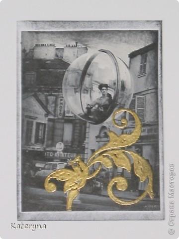 """Привет,привет! Давненько я не показывала вам,уважаемые """"жители"""" и гости Страны Мастеров,ничего новенького.Ну да я исправляюсь:) Итак,новая серия карточек АТС. За основу взяты потрясающие снимки Симоны Д`Аленкур.Это любимая модель мастера модного фото Мелвина Сокольски. Его знаменитая серия """"Simone,Bubble,Siene,Paris 1963""""(""""Симона,Пузырь,Сена,Париж 1963"""") была сделана для журнала """"Harper`s Bazaar""""и до недавнего времени находилась в частной коллекции Пола Томплинсона. Остаётся загадкой,как же этот пузырь витает в водухе. Из 10 снимков я выбрала только 7 и назвала серию """"Сфера"""". Основа тонирована дистрес-чернилами.На каждой карточке тематический штамп и влажный эмбосинг с золотой пудрой. Приятного просмотра!  фото 8"""