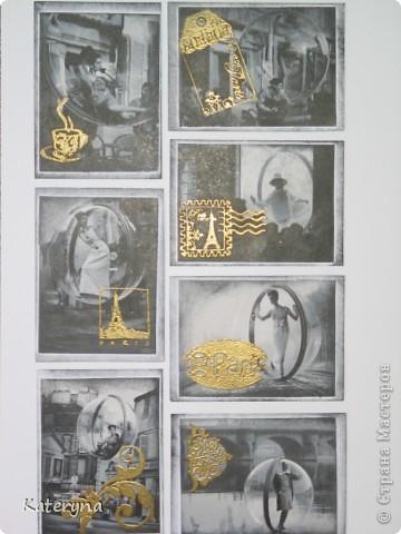 """Привет,привет! Давненько я не показывала вам,уважаемые """"жители"""" и гости Страны Мастеров,ничего новенького.Ну да я исправляюсь:) Итак,новая серия карточек АТС. За основу взяты потрясающие снимки Симоны Д`Аленкур.Это любимая модель мастера модного фото Мелвина Сокольски. Его знаменитая серия """"Simone,Bubble,Siene,Paris 1963""""(""""Симона,Пузырь,Сена,Париж 1963"""") была сделана для журнала """"Harper`s Bazaar""""и до недавнего времени находилась в частной коллекции Пола Томплинсона. Остаётся загадкой,как же этот пузырь витает в водухе. Из 10 снимков я выбрала только 7 и назвала серию """"Сфера"""". Основа тонирована дистрес-чернилами.На каждой карточке тематический штамп и влажный эмбосинг с золотой пудрой. Приятного просмотра!  фото 1"""