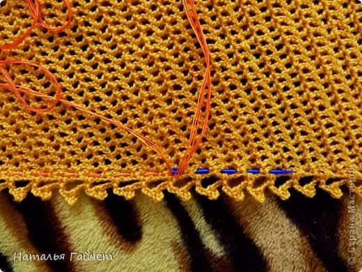 """Бактус """"Листопад"""". Основное полотно - филейная сетка крючком Размер готового бактуса без каймы 130 см на 25 см.  фото 12"""