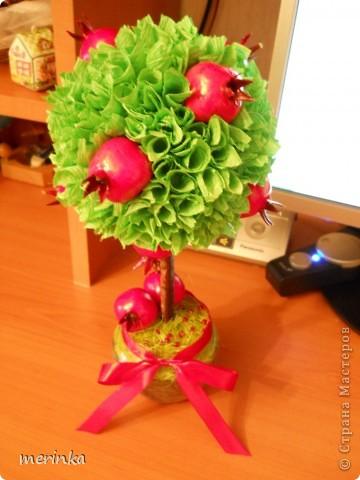 За 2 вечера сделала вот такое гранатовое дерево, гранаты покупала готовые)) фото 5