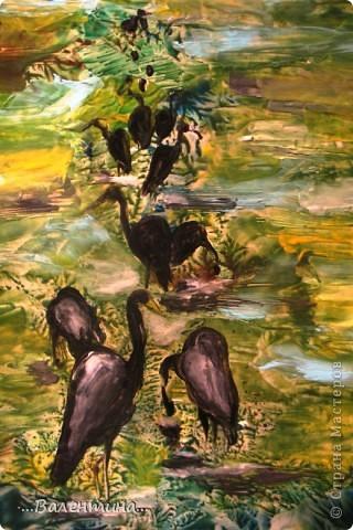 """Увидела на днях в Стране мастеров замечательную работу Carol """"Цапли на болоте""""  горячий батик на х/б   http://stranamasterov.ru/node/234608?c=favusers     Сразу же в голове увидела этот сюжет в энкаустике. Надеюсь автор работы не будет на меня в обиде за такую """"повторюшку"""".  фото 3"""