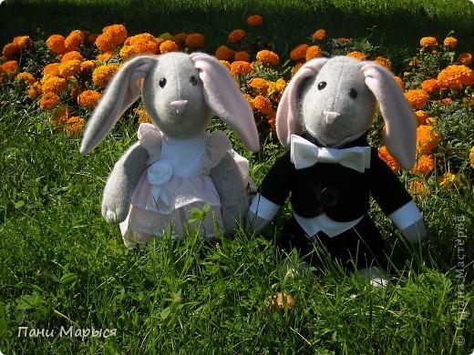 Эта милая парочка кроликов  не только шерсть и ангора, но и шелк, капрон, пуговички и хорошее настроение. Высота 35 см.  фото 1