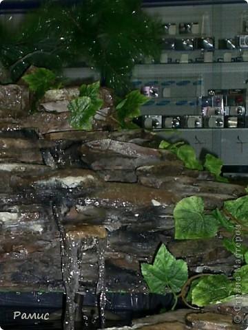 Водопад с разноцветными рыбками в большом магазине бытовой техники.  фото 3