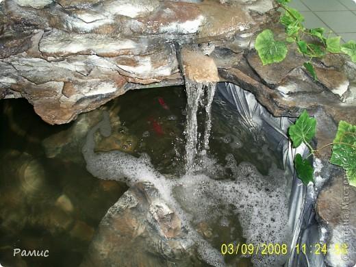 Водопад с разноцветными рыбками в большом магазине бытовой техники.  фото 4