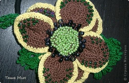 Цветок резинка вязанный крючком фото 2