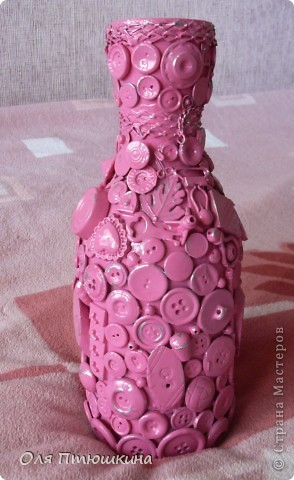 """Здраствуйте,уважаемые рукодельницы! Идею создания вазы подсмотрела на сайте """"Ярмарка мастеров"""", но там она золотая,а у меня-как всегда розовая. фото 1"""