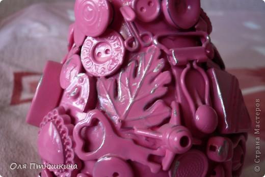"""Здраствуйте,уважаемые рукодельницы! Идею создания вазы подсмотрела на сайте """"Ярмарка мастеров"""", но там она золотая,а у меня-как всегда розовая. фото 3"""