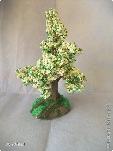 Очень долго собиралась попробовать сделать дерево из бисера. И вот наконец-то сделала. В результате получилось деревце из бисера и домик из самозастывающей глины. фото 3