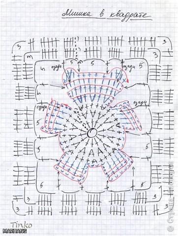 """На бескрайних просторах интернета нашла схему """"Мишка в квадрате"""" (к сожалению не помню имя автора) и связала своей дочуле вот такое одеяло.  фото 4"""