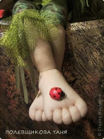 """Текстильная кукла """"ЛЕСНАЯ НИМФА"""". Лесная Нимфа живет в потрясающе красивом лесу, где летают бабочки, поют птицы, цветут душистые цветы... фото 4"""