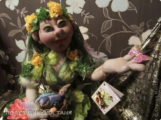 """Текстильная кукла """"ЛЕСНАЯ НИМФА"""". Лесная Нимфа живет в потрясающе красивом лесу, где летают бабочки, поют птицы, цветут душистые цветы... фото 2"""