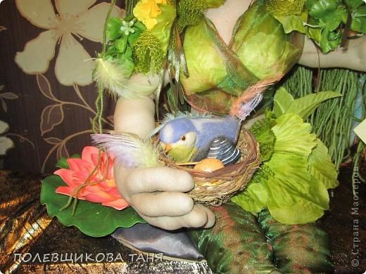 """Текстильная кукла """"ЛЕСНАЯ НИМФА"""". Лесная Нимфа живет в потрясающе красивом лесу, где летают бабочки, поют птицы, цветут душистые цветы... фото 3"""