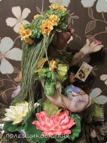 """Текстильная кукла """"ЛЕСНАЯ НИМФА"""". Лесная Нимфа живет в потрясающе красивом лесу, где летают бабочки, поют птицы, цветут душистые цветы... фото 5"""