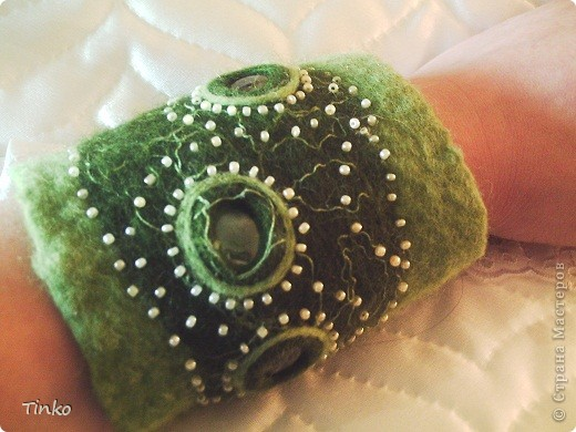 """""""Лесное болотце"""". Кулон, браслет и кольцо из шерсти. фото 2"""