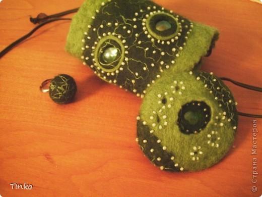 """""""Лесное болотце"""". Кулон, браслет и кольцо из шерсти. фото 1"""