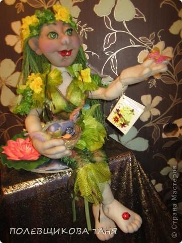 """Текстильная кукла """"ЛЕСНАЯ НИМФА"""". Лесная Нимфа живет в потрясающе красивом лесу, где летают бабочки, поют птицы, цветут душистые цветы... фото 1"""
