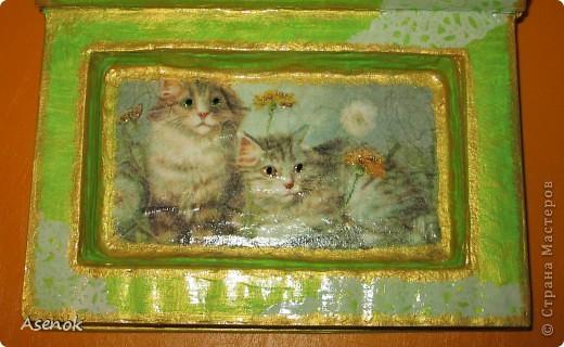 Ни для кого не секрет, что я обожаю кошек :) Поэтому выбирая мотивы для шкатулочки-купюрницы я естественно выбрала кошек :) Шкатулка сделана из старой не нужной книги. Идею давно уже увидела в инете, но руки только сейчас дошли... и вот что вышло ;) Верх. фото 4