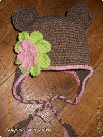 Детская шапка с ушками Вязание крючком.