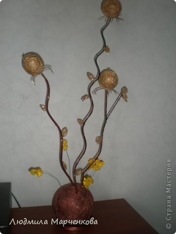цветы - шарики из ниток фото 14