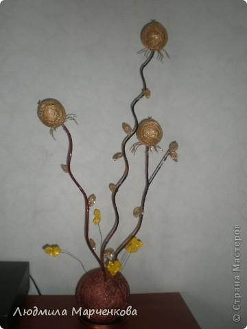 цветы - шарики из ниток фото 1