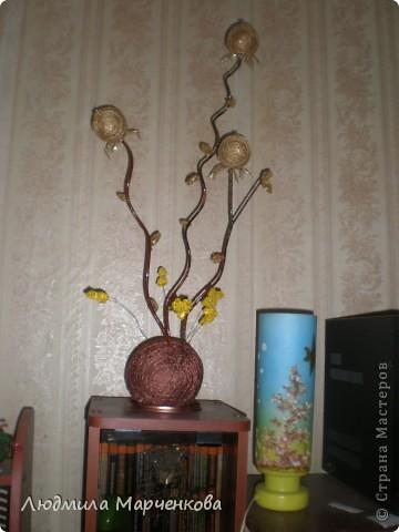 цветы - шарики из ниток фото 13