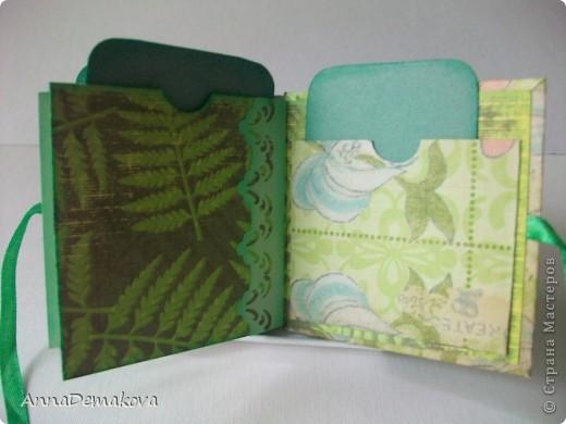 А ещё я сделала наборчик - обложка для паспорта и миник. В общем то ничего особенного. Такой легкий, зелененикий, летний наборчик. Его можно кому-нибудь подарить на день рождения. фото 7