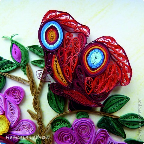 Шиповник и бабочки.Квиллинг. фото 5