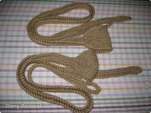 пращи связанные крючком из джутового шпагата фото 1