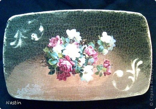 Декупаж кухонной досочки. Распечатка, кракелюр, трафарет, имитация камня по торцам.  фото 3