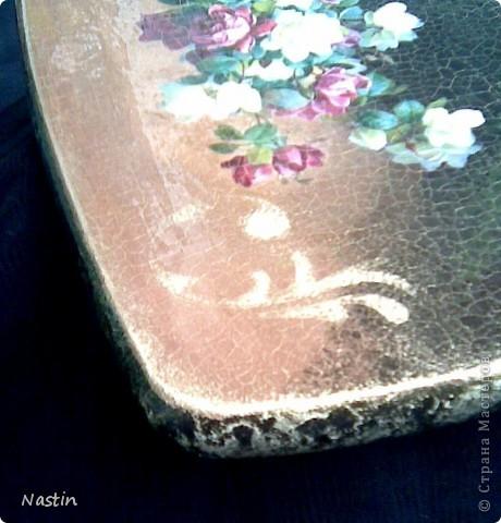 Декупаж кухонной досочки. Распечатка, кракелюр, трафарет, имитация камня по торцам.  фото 4