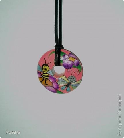 Двусторонний кулончик на день рождения своей крестнице, диаметр около 4 см фото 1