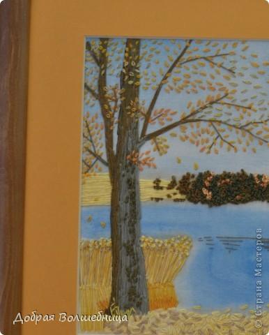 """Эту работу я выполнила чуть раньше. Сейчас начинается самое красивое время осени и вышивка как раз по теме.  Работа выполнена в технике """" Пейзажная вышивка"""". Вышивала я с изображения пейзажа. фото 2"""
