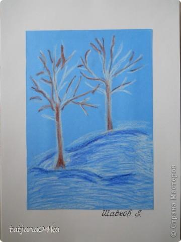 Всё о зиме (пастель, краски, цветная бумага, гелевые ручки) фото 2