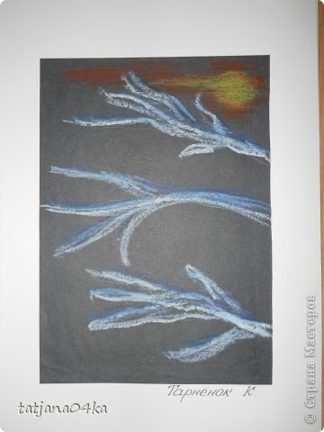 Всё о зиме (пастель, краски, цветная бумага, гелевые ручки) фото 3