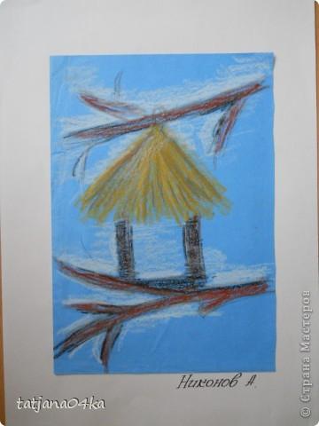 Всё о зиме (пастель, краски, цветная бумага, гелевые ручки) фото 5