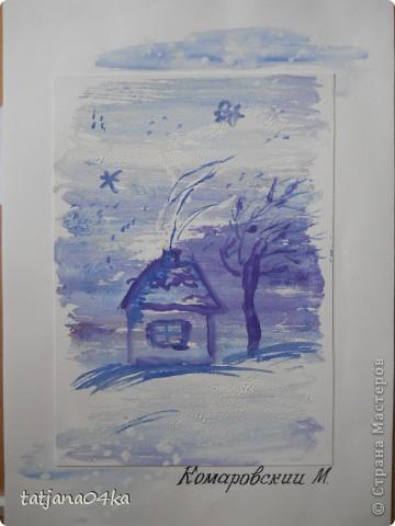 Всё о зиме (пастель, краски, цветная бумага, гелевые ручки) фото 6