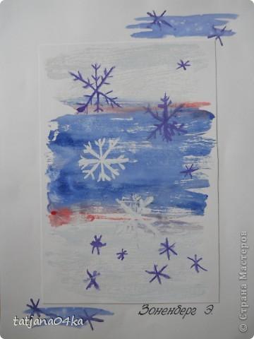 Всё о зиме (пастель, краски, цветная бумага, гелевые ручки) фото 7