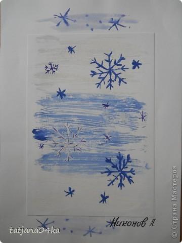 Всё о зиме (пастель, краски, цветная бумага, гелевые ручки) фото 8