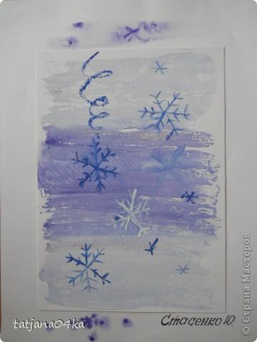 Всё о зиме (пастель, краски, цветная бумага, гелевые ручки) фото 9